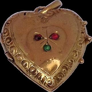 Victorian 14 K Gold Puffy Heart Double Photo Locket
