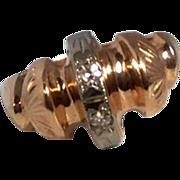 Vintage  14 K  Rose Gold Diamond Ring