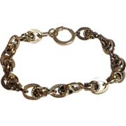"Victorian Gold Filled Fancy Bookchain Link 8"" Bracelet"