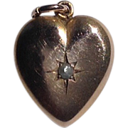 Vintage 10 K Gold  Pearl Heart Pendant Charm