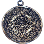 Vintage  Sterling Silver Mexican Mayan Calendar Charm