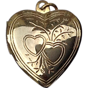 Vintage Floral Heart Gold Filled Double Photo Locket