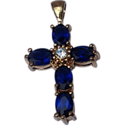 Vintage Gold Tone Sapphire Blue Stone Cross