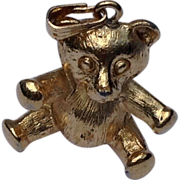 Vintage Gold Tone Teddy Bear Charm