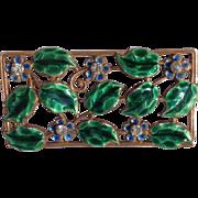 Vintage Gold Tone Enameled Floral Brooch