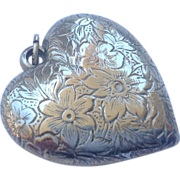 Vintage Sterling Silver Extra Large Puffy Heart Pendant Charm