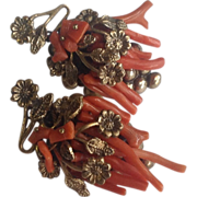Vintage Hand Wired Branch Coral Earrings