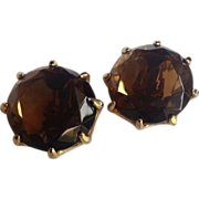 Vintage Gold Tone Faux Smokey Topaz Earrings
