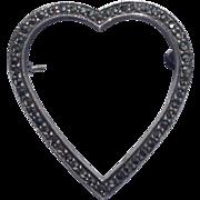 Vintage Sterling Silver Marcasite Heart Brooch