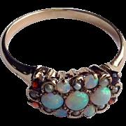 Victorian 14 K Gold Opal Garnet & Pearl Ring