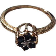 Vintage 14 K Gold Spinel & Diamond Ring