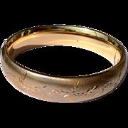 Vintage 12 K Gold Filled Hinged Bangle Bracelet
