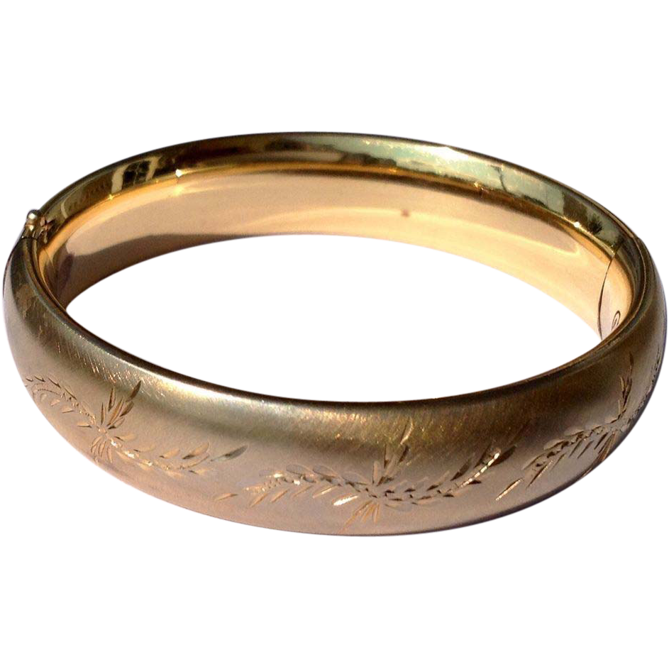 vintage 12 k gold filled hinged bangle bracelet from