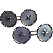 Vintage  14 K Gold Mother Of Pearl Cufflinks