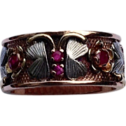Vintage Tri Color Gold Ruby Butterfly Floral Motif Wedding Ring Band