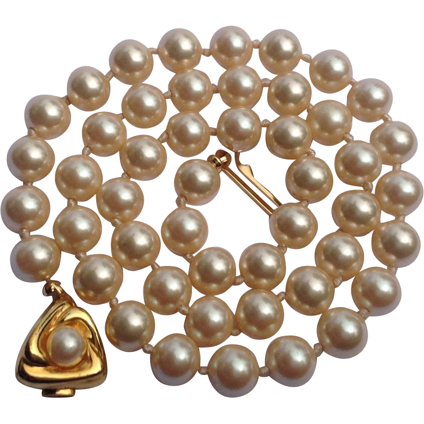 "Vintage Faux Pearl 18"" Knotted Necklace"