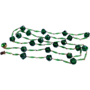 Vintage West Germany Emerald Green Faceted Bead Necklace