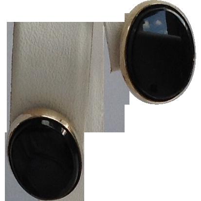 Vintage Atmark 12 K Gold Filled Black Onyx Earrings