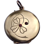 Art Deco 10 K Rolled Gold Double Photo Locket Shamrock  Clover Motif
