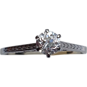 Vintage  Solitaire Art Deco 18 K .30 Ct Diamond Engagement Ring