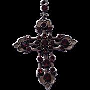 Vintage Sterling Silver Genuine Cabochon Garnet Cross Pendant