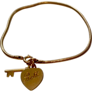 Vintage Forstier 12 K Gold Filled Key To My Heart Bracelet