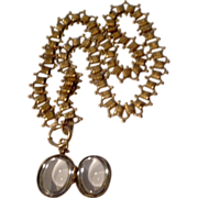Vintage Large Pools Of Light Oval Locket & Chain Necklace