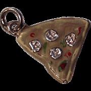 Vintage Sterling Silver Enamel Pizza Slice