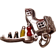 Rare Vintage Sterling Silver Enameled  Mother Hubbard Mechanical Shoe Charm