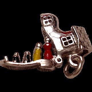 Rare Vintage Sterling Silver Enameled  Mother Hubbard Mechanical Shoe Charm