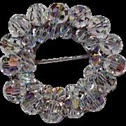 Vintage Clear Aurora Borealis Beaded Pin