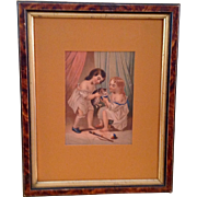 Victorian Framed Chromolithograph Picture Children & Kitten