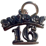 Vintage Sterling Silver Sweet 16 Charm