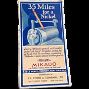 Vintage Mikado Eagle Pencil Company Cardboard Ink Blotter