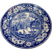 Victorian Blue & White Wild Rose Staffordshire Plate