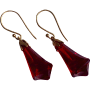 Ruby Red Lucite Bell Shaped Dangle Earrings
