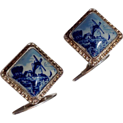 Delft 835 Silver Blue & White Cuff Links By G. J. Van Den Bergh Jr.