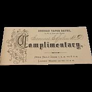 Victorian Russian Vapor Baths Complimentary Card