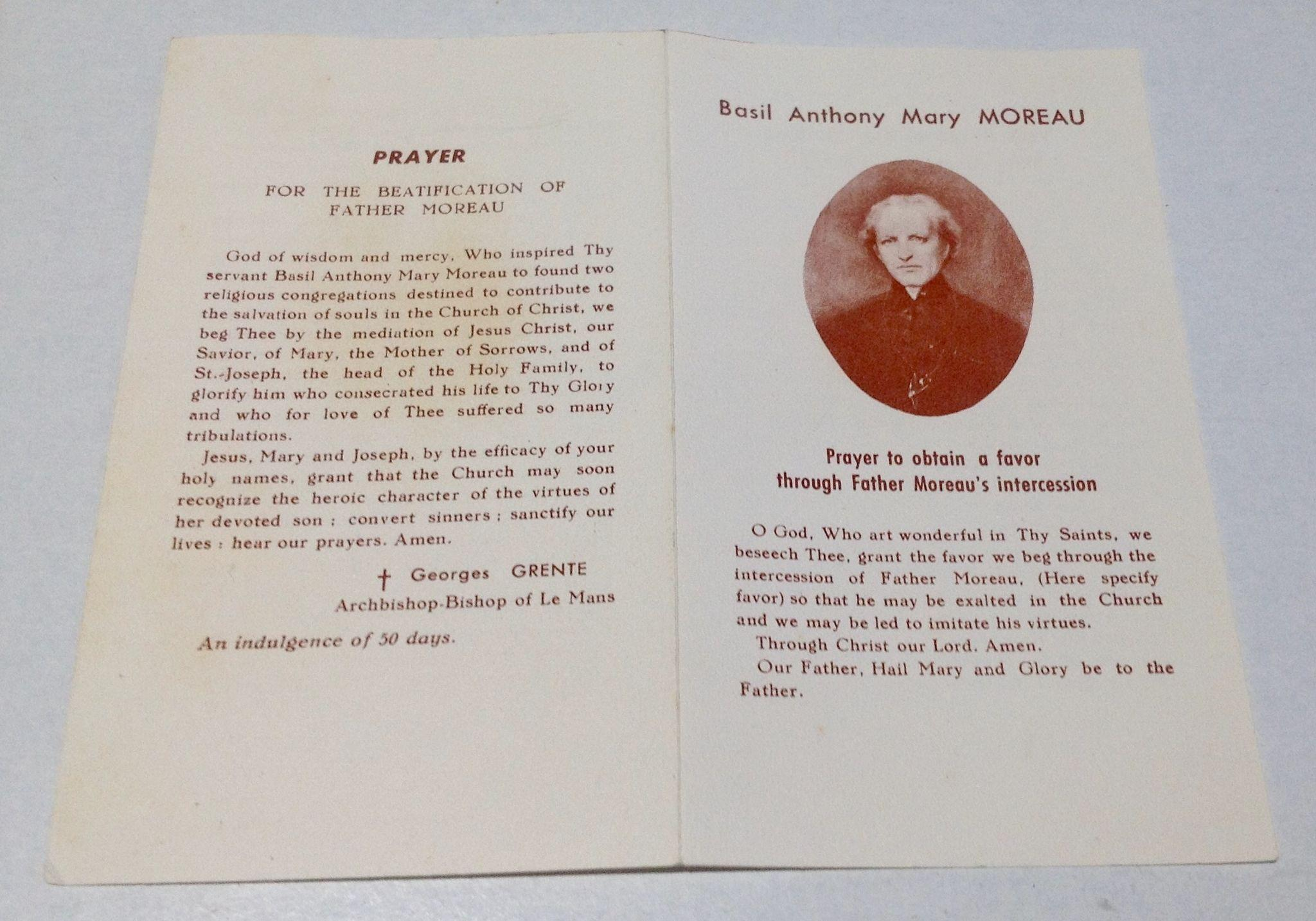 Top 9 Quotes By Basil Moreau: Vintage Basil Anthony Mary Moreau Pray Card With Reliquary