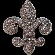 Vintage Sterling Silver Swarovski Crystal Fleur d Lis Brooch Pendant