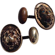 Vintage Gold Filled  Lions Head Cuff Links