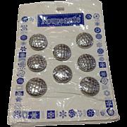 Vintage Set Of Eight Nouveaute Buttons On Original Card
