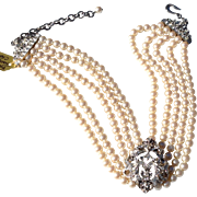 Vintage Faux Pearl & Rhinestone Clasp Chocker Necklace