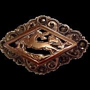 Vintage 900 Silver Gold Filled & Marcasite  Brooch
