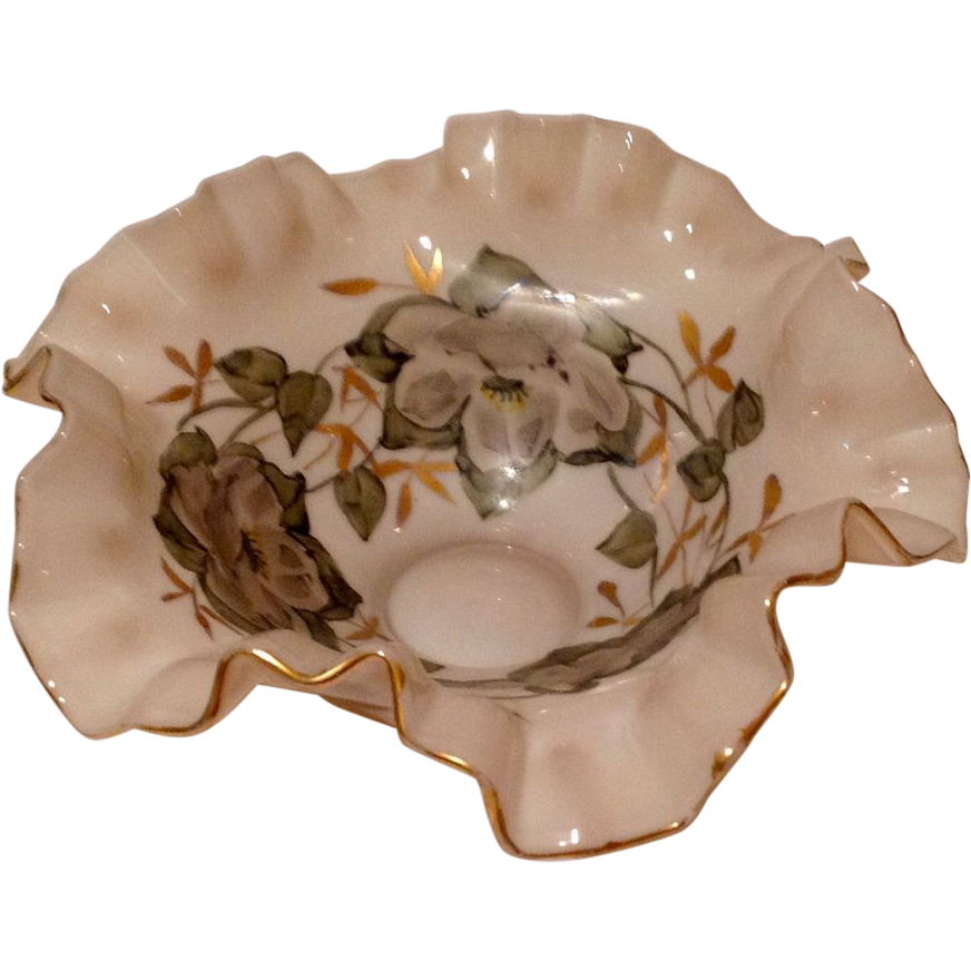 Vintage Fluted Wavy  Hand Painted Magnolia  Glass Bowl
