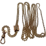 Victorian Gold Filled Slide Chain With 10 K Gold & Seed Pearl Slide
