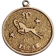 Vintage Gold Tone Metal Sarah Coventry Aries Zodiac Disk Charm