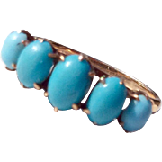 Victorian 10K Gold Persian Turquoise Ring