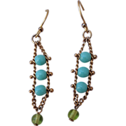 Vintage Gold Filed Turquoise Glass Dangle Earrings