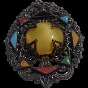 Art Deco Brass & Enamel Pendant